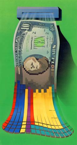 Illustration, Paper Money Transition to Digital Money