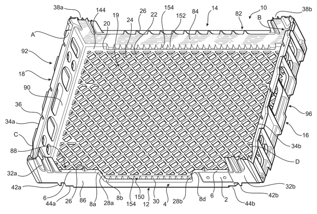 Patent Illustration for a Interlocking Shipping Crate.