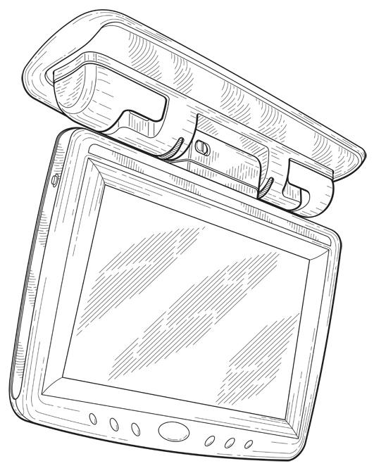 Patent Design Illustration, Automobile Media Monitor