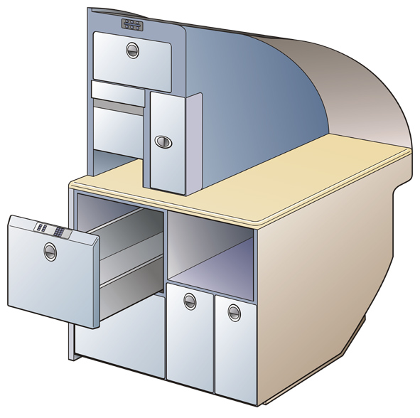 Product Illustration of a Drawer Microwave for an Airplane Galley