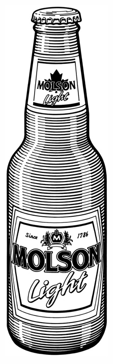 Product Illustration of a Molson Light Bottle, for a cut sheet.