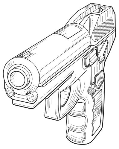 Patent Design Illustration of a Pistol
