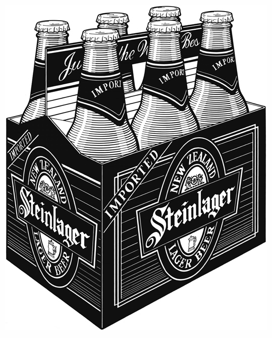 Product Illustration of a Steinlager 6 Pack, for a cut sheet.