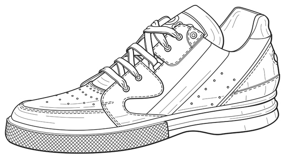 Patent Design Illustration, Tennis Shoe