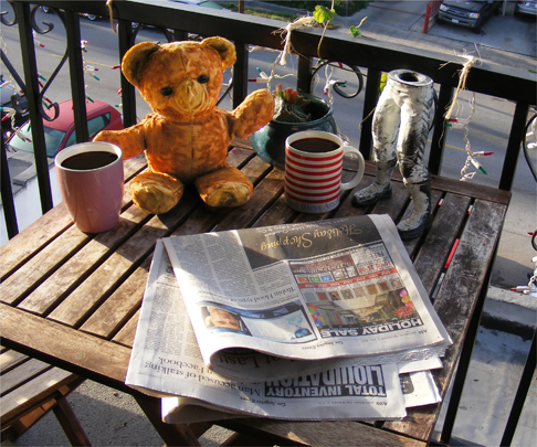 The Adventures of Harvey, with Teddy, Morning Coffee