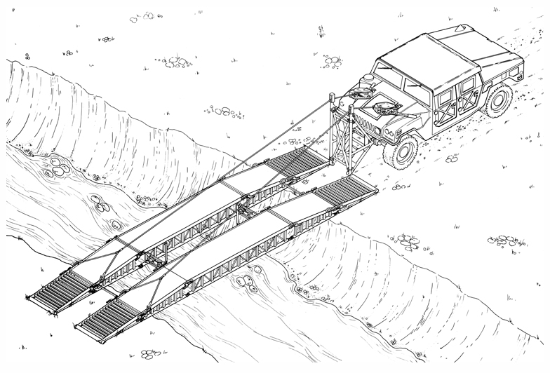 Humvee with Unfolded Portable Bridge